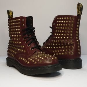 RARE NEW Dr Martens dark red gold spike boo